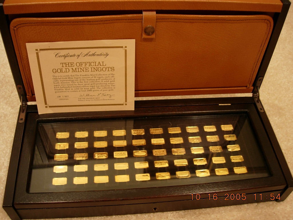 Franklin Mint Gold Mines Ingots